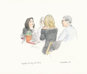 Nigella Lawson, Kirsty Young and Nick Jones, PAC fundraiser at Babington House