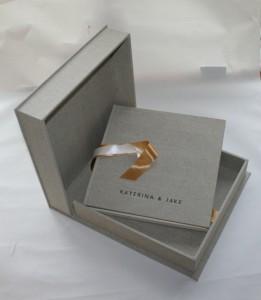 sarah godsill wedding illustration black cat bindery oatmeal linen alb and box