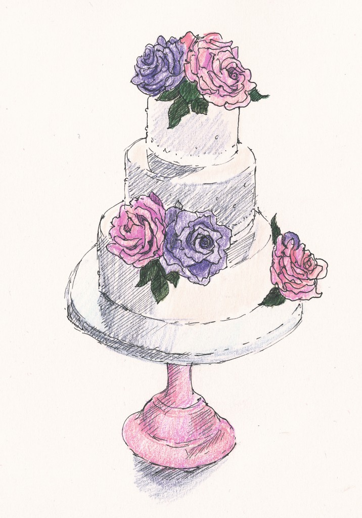 wedding and events illustration - 3-tier Jellycake