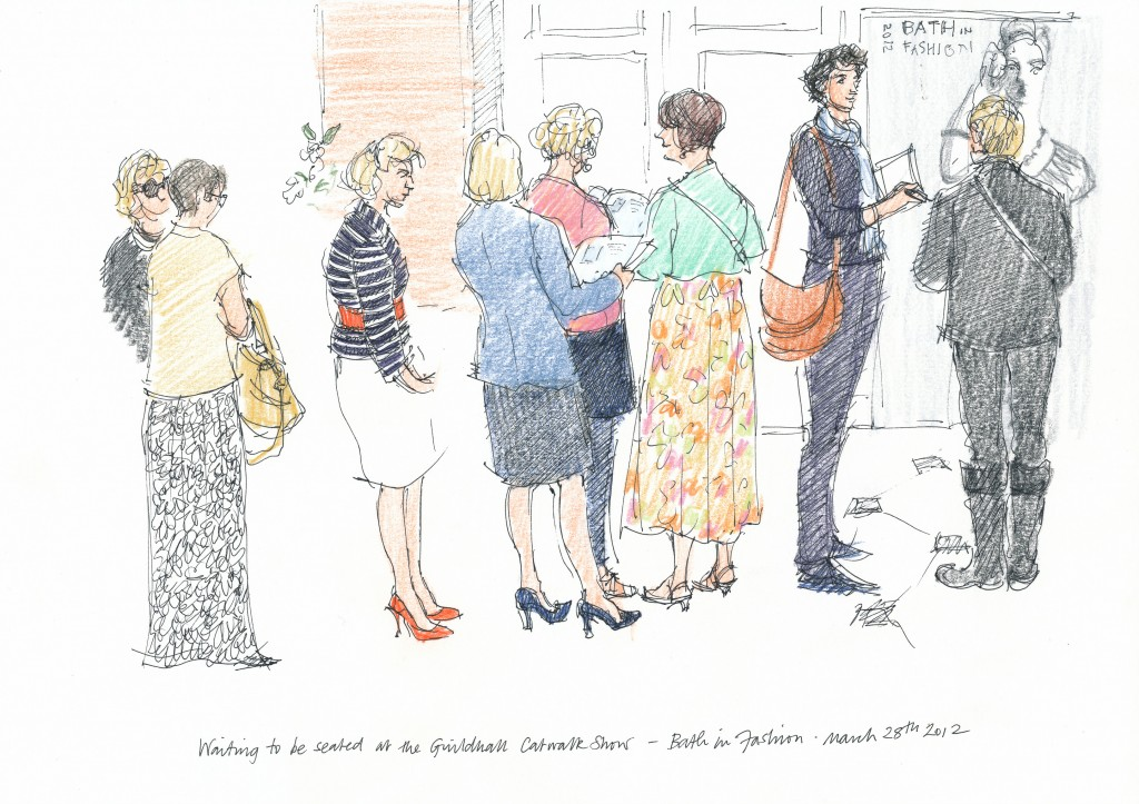 wedding and events illustration - Bath in Fashion, ladies queuing for catwalk show