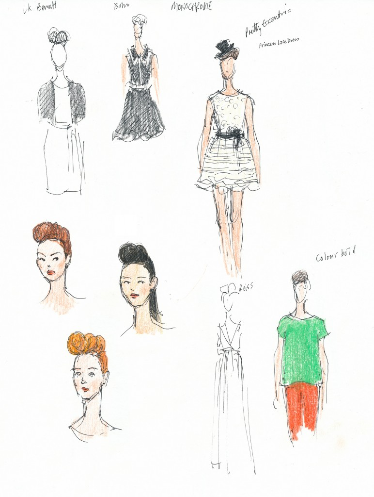 wedding and events illustration - Bath in Fashion, SS12 collections