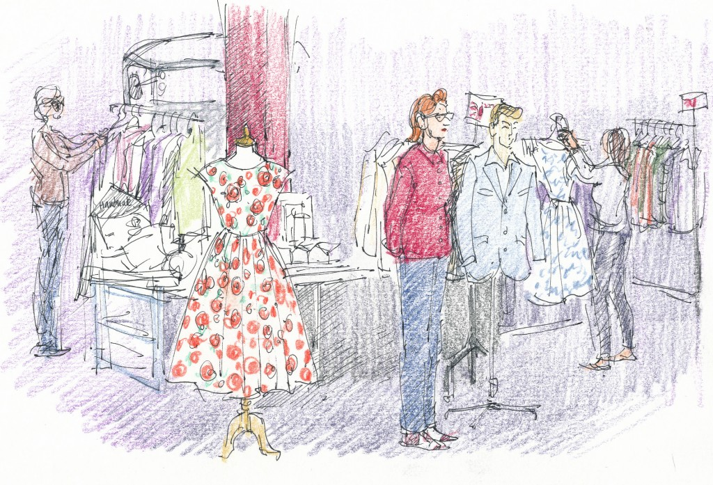 event illustration - Sarah Godsill, Bath in Fashion, vintage fashion fair